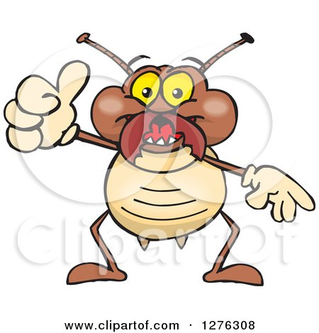 Clipart of a Happy Termite Holding a Thumb up - Royalty Free Vector Illustration by Dennis Holmes Designs