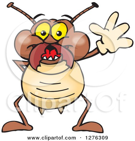 Clipart of a Happy Termite Waving - Royalty Free Vector Illustration by Dennis Holmes Designs