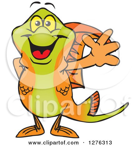 Clipart of a Happy Swordtail Fish Waving - Royalty Free ...