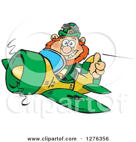 Clipart of a Happy Leprechaun Holding a Thumb up and Flying a Plane - Royalty Free Vector Illustration by Dennis Holmes Designs