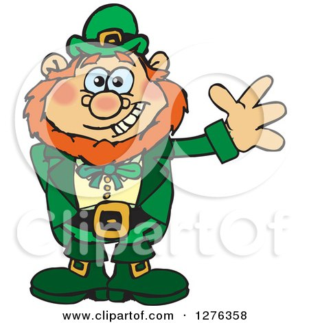 Clipart of a Happy Leprechaun Waving - Royalty Free Vector Illustration by Dennis Holmes Designs