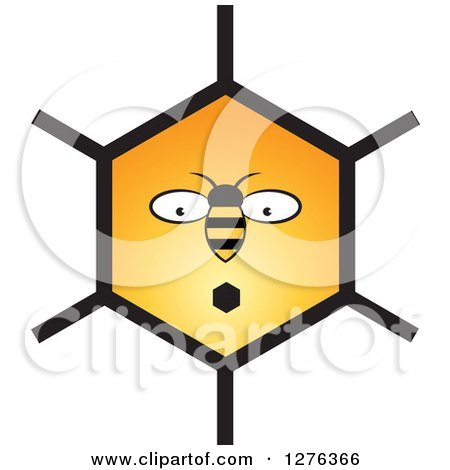 Clipart of a Surprised Bee and Honeycomb Face - Royalty Free Vector Illustration by Lal Perera