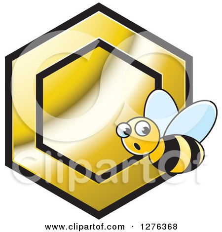 Clipart of a Surprised Bee and Gold Honeycomb - Royalty Free Vector Illustration by Lal Perera