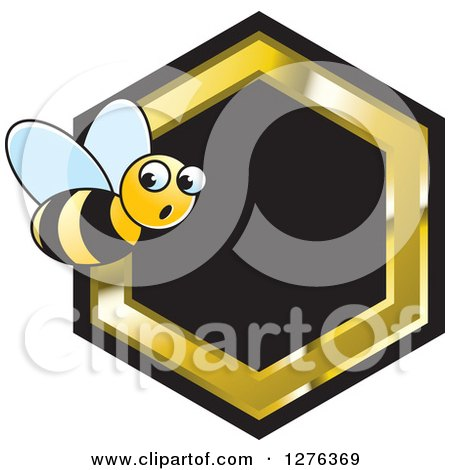 Clipart of a Surprised Bee with a Black and Gold Honeycomb - Royalty Free Vector Illustration by Lal Perera