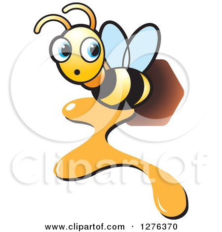 Clipart of a Surprised Bee Flying with Dripping Honey - Royalty Free Vector Illustration by Lal Perera