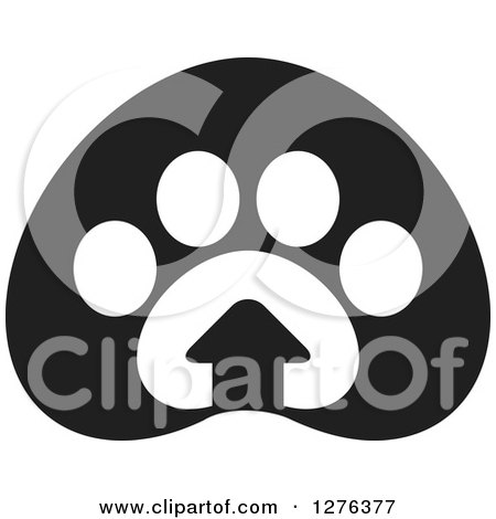 Clipart of a Black and White Paw Print with a House - Royalty Free Vector Illustration by Lal Perera