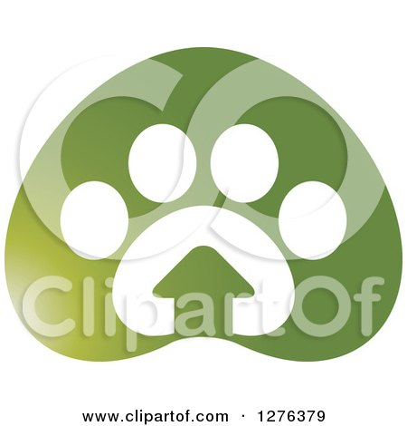 Clipart of a Green Paw Print with a House - Royalty Free Vector Illustration by Lal Perera