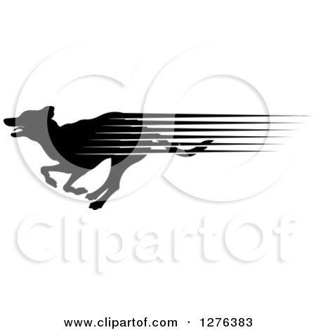 Clipart of a Black Silhouetted Dog with Speed Streaks, Running in Profile - Royalty Free Vector Illustration by Lal Perera