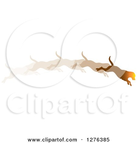 Clipart of a Sunset Colored Leaping Dog Shown in Motion - Royalty Free Vector Illustration by Lal Perera