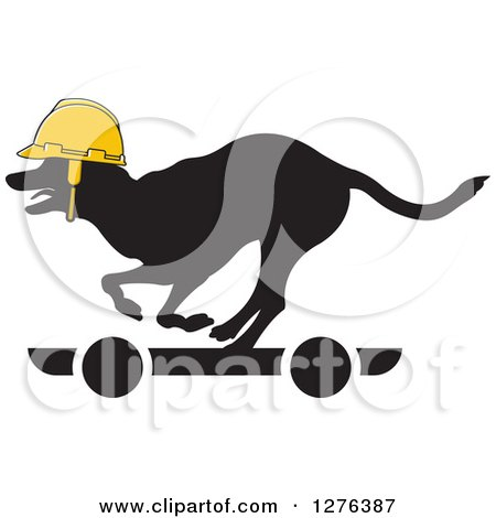 Clipart of a Black Silhouetted Dog Wearing a Yellow Helmet and Riding a Skateboard - Royalty Free Vector Illustration by Lal Perera