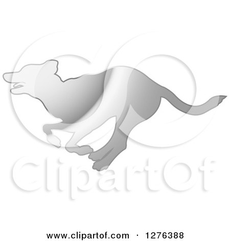Clipart of a Silver Silhouetted Dog Running in Profile - Royalty Free Vector Illustration by Lal Perera