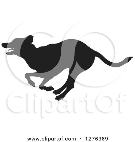 Clipart of a Black Silhouetted Dog Running in Profile - Royalty Free Vector Illustration by Lal Perera