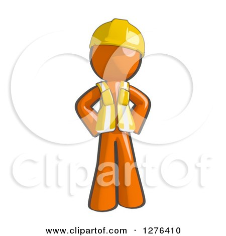 Clipart of a Sketched Stern Construction Worker Orange Man in a Vest, with Hands on His Hips - Royalty Free Illustration by Leo Blanchette