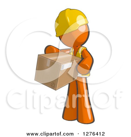 Clipart of a Sketched Construction Worker Orange Man in a Vest, Holding out a Package - Royalty Free Illustration by Leo Blanchette