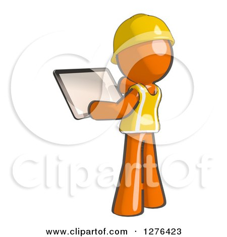 Clipart Of A Sketched Construction Worker Orange Man In Vest Using Tablet Computer 3