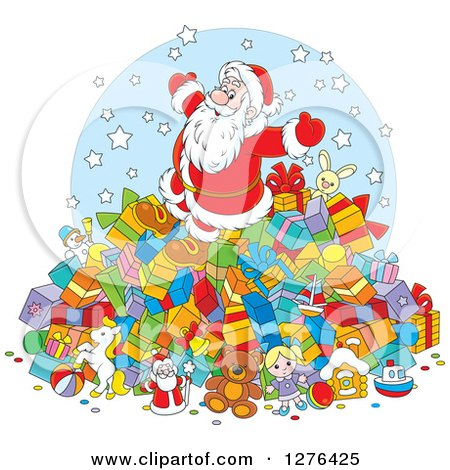 Clipart of a Cheerful Santa Claus on Top of a Pile of Christmas Gifts - Royalty Free Vector Illustration by Alex Bannykh