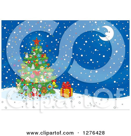 Clipart of a Christmas Tree and Gift Under a Crescent Moon on a Winter Night - Royalty Free Vector Illustration by Alex Bannykh