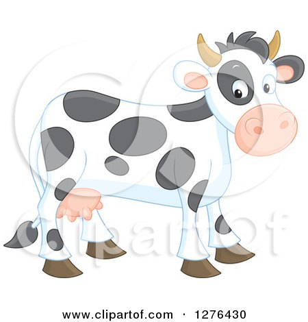 Clipart of a Cute Happy Cow - Royalty Free Vector Illustration by Alex Bannykh