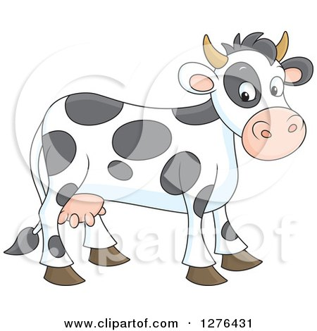 Clipart of a Cute Spotted Cow - Royalty Free Vector Illustration by Alex Bannykh