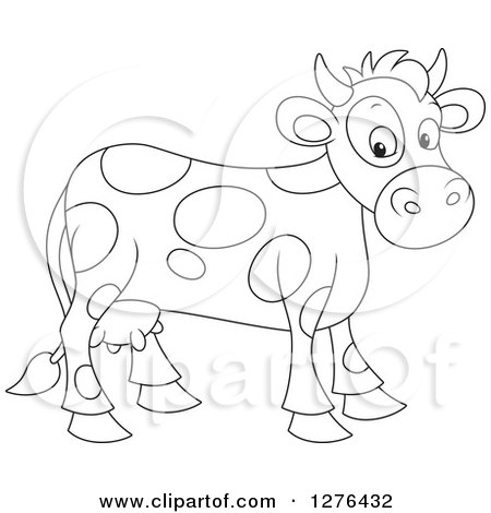 Clipart of a Black and White Cute Spotted Cow - Royalty Free Vector Illustration by Alex Bannykh