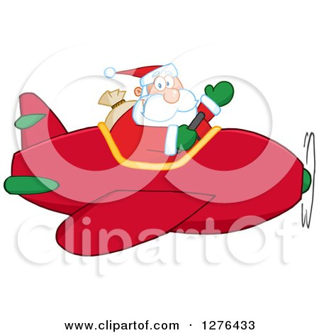 Clipart of a Waving Santa Claus Piloting a Red Christmas Plane - Royalty Free Vector Illustration by Hit Toon