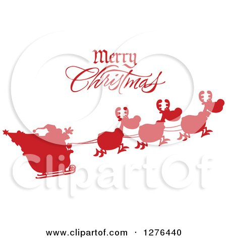 Clipart of a Merry Christmas Greeting over a Red Silhouetted Santa and Flying Reindeer - Royalty Free Vector Illustration by Hit Toon