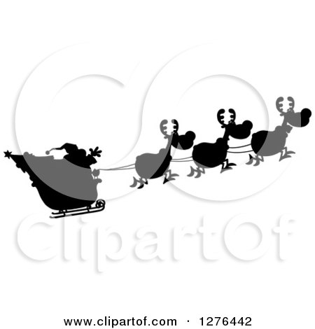 Clipart of a Black and White Silhouetted Santa Waving and His Magic Reindeer and Sleigh - Royalty Free Vector Illustration by Hit Toon