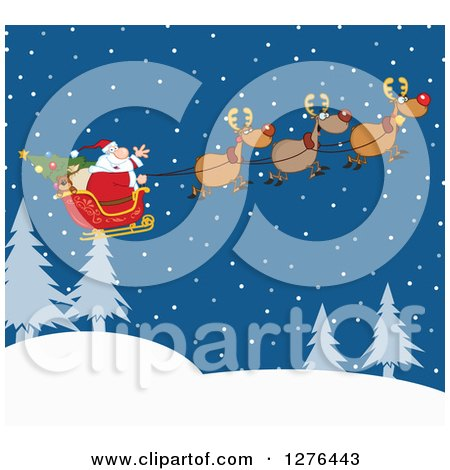 Clipart of a Team of Magic Reindeer Flying Santa in His Sleigh over a Winter Landscape at Night - Royalty Free Vector Illustration by Hit Toon