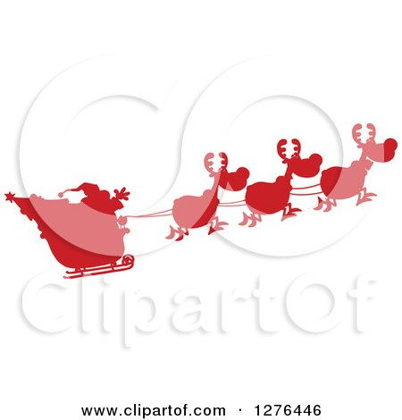 Clipart of a Red Silhouetted Santa Waving and His Magic Reindeer and Sleigh - Royalty Free Vector Illustration by Hit Toon