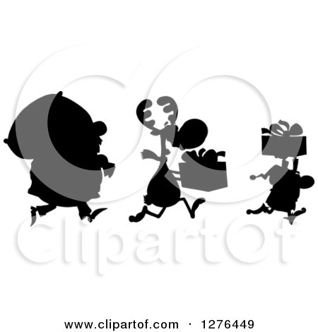 Clipart of a Black Silhouetted Santa, Reindeer and Elf with a Christmas Sack and Gifts - Royalty Free Vector Illustration by Hit Toon