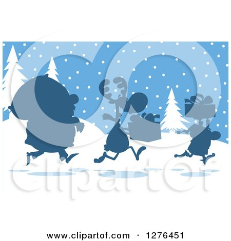 Clipart of a Silhouetted Santa, Reindeer and Elf with a Christmas Sack and Gifts in the Snow - Royalty Free Vector Illustration by Hit Toon