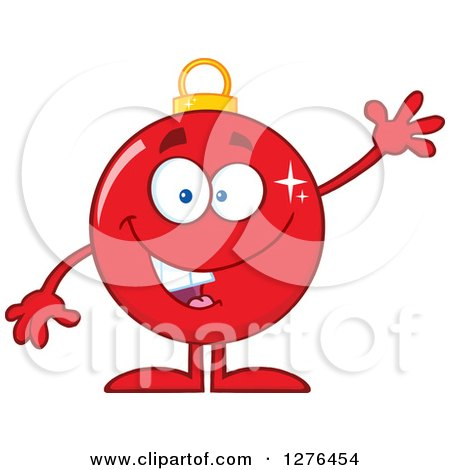Clipart of a Happy Red Christmas Bauble Ornament Character Waving - Royalty Free Vector Illustration by Hit Toon