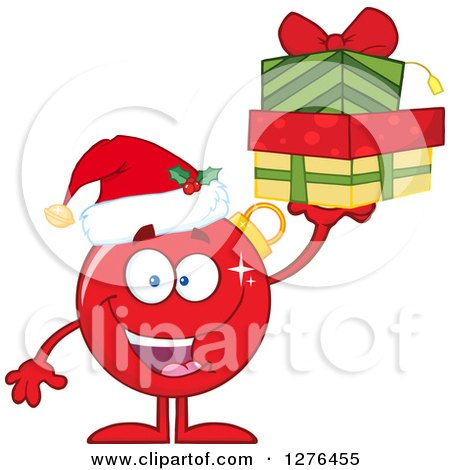 Clipart of a Happy Red Christmas Bauble Ornament Character Holding up Gifts - Royalty Free Vector Illustration by Hit Toon
