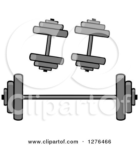 Clipart of a Barbell and Two Dumbbell Weights - Royalty Free ...