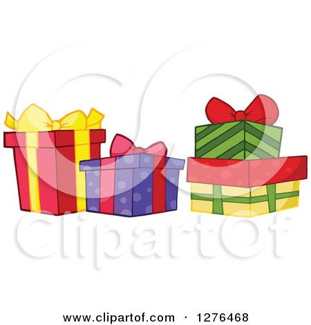 Clipart of Four Colorful Christmas or Birthday Presents - Royalty Free Vector Illustration by Hit Toon