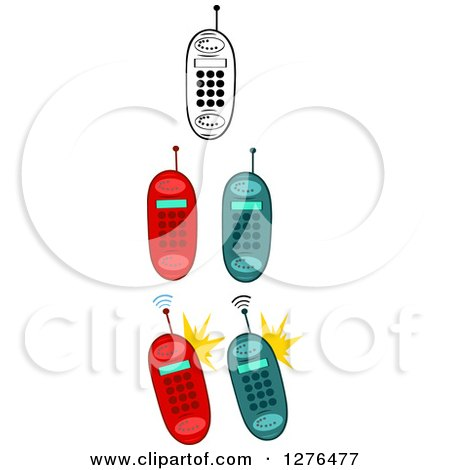 Clipart of Black and White and Colored Cell Phones - Royalty Free Vector Illustration by Hit Toon