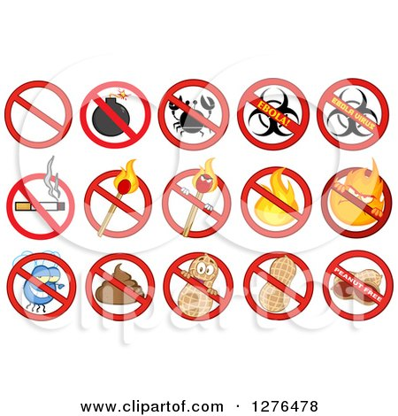 Clipart of a Prohibited Restriction Symbols over a Bomb, Crab, Ebola, Cigarette, Match, Fire, Fly, Poop, and Peanuts - Royalty Free Vector Illustration by Hit Toon