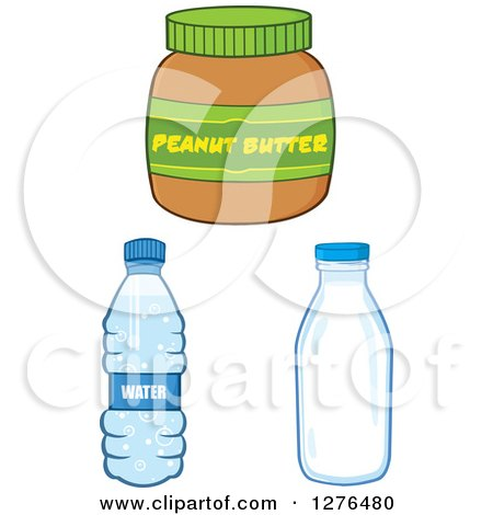 Clipart of a Peanut Butter Jar, Water Bottle and Milk Jar - Royalty Free Vector Illustration by Hit Toon