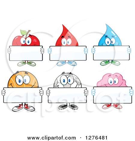 Clipart of a Happy Apple, Blood Drop, Water Drop, Basketball, Soccer Ball and Brain Holding Blank Signs - Royalty Free Vector Illustration by Hit Toon