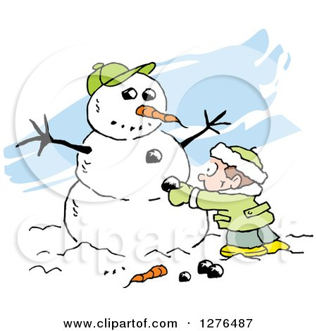 Clipart of a White Boy Making a Winter Snowman with a Carrot Nose Coal Buttons and Baseball Hat, over Blue Streaks - Royalty Free Vector Illustration by Johnny Sajem