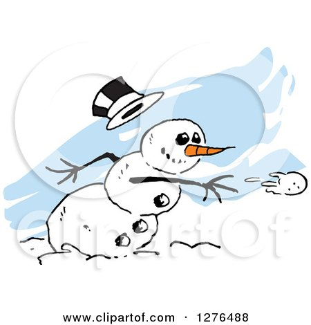 Clipart of a Mischievous Winter Snowman with a Carrot Nose and Falling Hat, Throwing a Snowball over Blue Streaks - Royalty Free Vector Illustration by Johnny Sajem