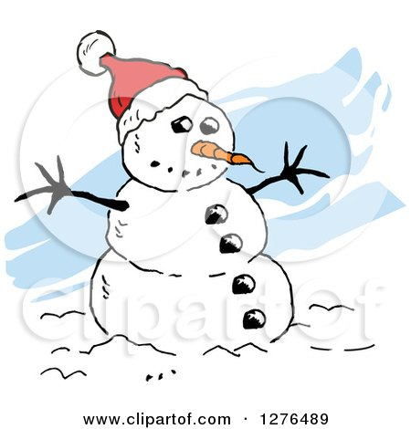 Clipart of a Winter Snowman with a Carrot Nose and Santa Hat, over Blue Streaks - Royalty Free Vector Illustration by Johnny Sajem