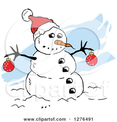 Clipart of a Winter Snowman with a Carrot Nose, Baubles and Santa Hat, over Blue Streaks - Royalty Free Vector Illustration by Johnny Sajem