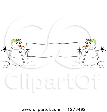 Clipart of Two Winter Snowmen Holding a Blank Banner Sign - Royalty Free Vector Illustration by Johnny Sajem