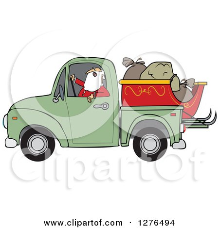 Clipart of Santa Claus in Pajamas, Driving a Pickup Truck with His Christmas Sleigh and Sacks in the Bed - Royalty Free Vector Illustration by djart