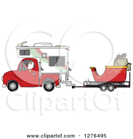 Clipart of Santa Claus in Pajamas, Driving a Pickup Truck with a Camper and His Christmas Sleigh on a Trailer - Royalty Free Vector Illustration by djart
