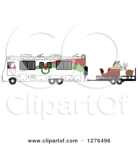 Clipart of Santa Claus in Pajamas, Driving an RV with His Christmas Sleigh and Reindeer on a Trailer - Royalty Free Vector Illustration by djart