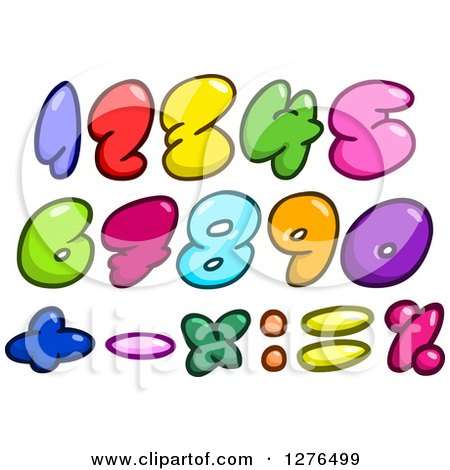 Clipart of Colorful Cartoon Comic Bubble Numbers and Math Symbols - Royalty Free Vector Illustration by yayayoyo