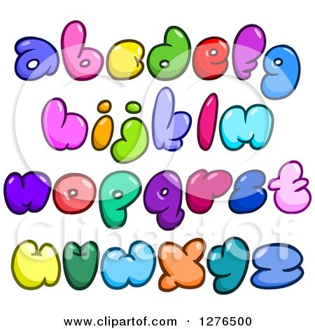 Clipart of Colorful Cartoon Comic Bubble Lowercase Alphabet Letters - Royalty Free Vector Illustration by yayayoyo