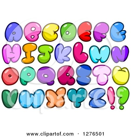Clipart of Colorful Cartoon Comic Bubble Capital Alphabet Letters - Royalty Free Vector Illustration by yayayoyo